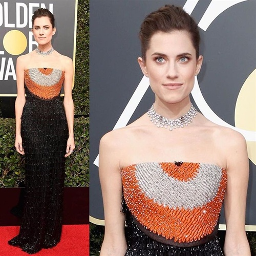 Allison Williams in Armani Prive at Golden Globes